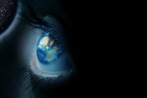Earth, Eyes, Eyelashes, Stars, Closeup, Continents, Africa, Black background, Reflection