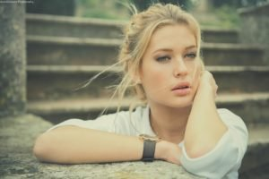 women, Model, Blonde, Juicy lips, Green eyes, Face
