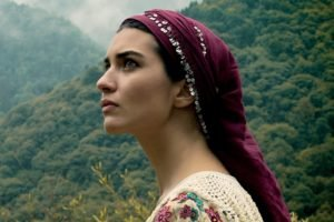 women, Tuba Büyüküstün, Brunette, Women outdoors, Actress, Scarf, Looking away