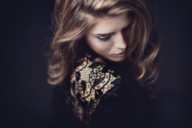 women, Model, Blonde, Black dress, Dress, Mascara HD Wallpaper Desktop Background