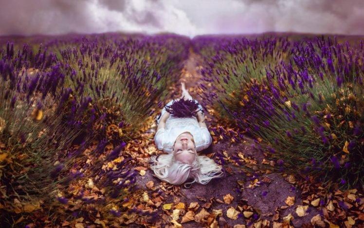 model, Lavender, Purple flowers, Lying down, Blonde, Closed eyes, Leaves, Women outdoors HD Wallpaper Desktop Background