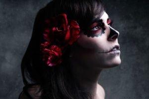 Dia de los Muertos, Makeup, Brunette, Flowers, Sugar Skull