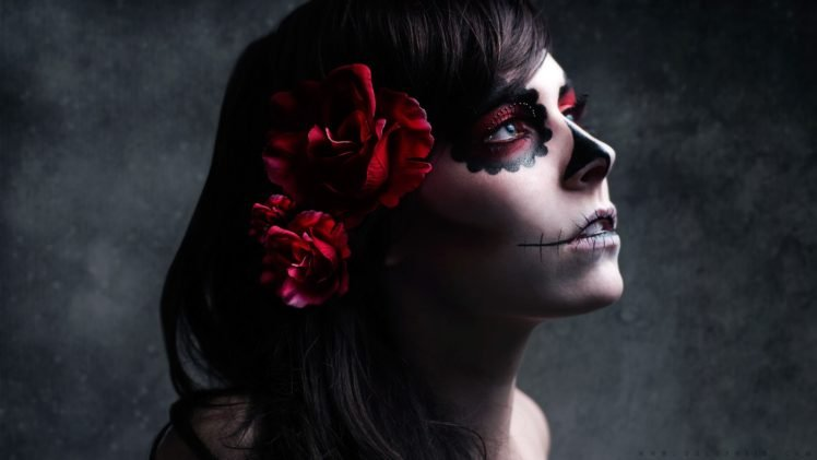 Dia De Los Muertos Makeup Brunette Flowers Sugar Skull HD Wallpaper Desktop