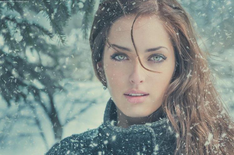 brunette, Looking at viewer, Sarah Allag, Winter, Women, Snow, Face, JimaGination, Model, Green eyes, Redhead, Kohl eyes HD Wallpaper Desktop Background