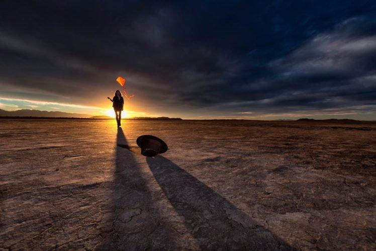 women, Model, Brunette, Long hair, Women outdoors, Desert, Shirt, Boots, Sun, Sunlight, Shadow, Nature, Clouds, Hill, Kites HD Wallpaper Desktop Background