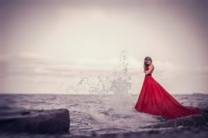 women, Model, Brunette, Long hair, Women outdoors, Sea, Red dress, Waves, Splashes, Rock, Wet, Horizon, Dress