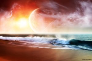 colorful, Space art, Space, Sea, Horizon, Digital art