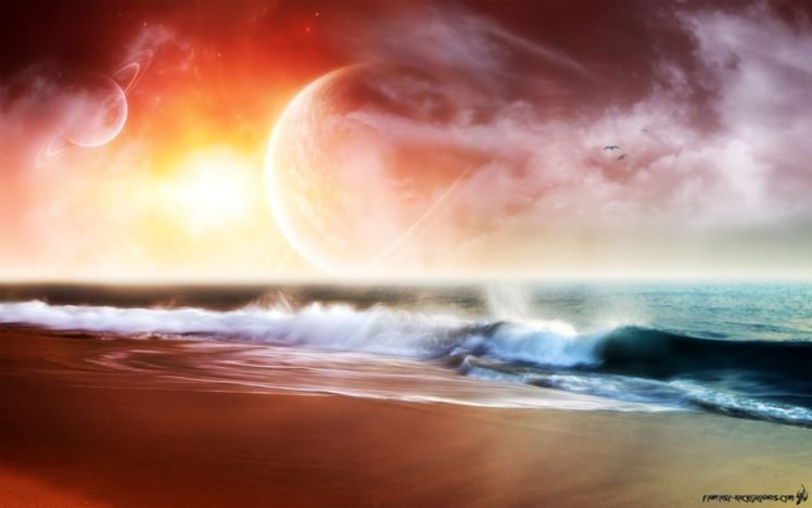 colorful, Space art, Space, Sea, Horizon, Digital art HD Wallpaper Desktop Background