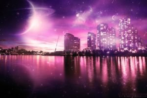 space art, Cityscape, Colorful, Planet, Digital art