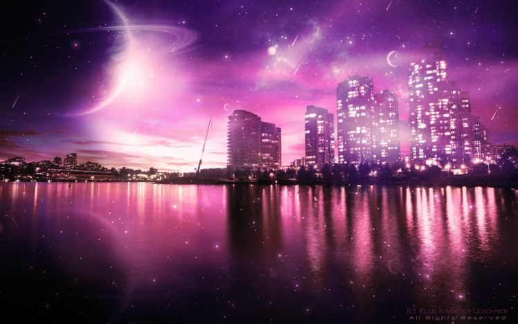 space art, Cityscape, Colorful, Planet, Digital art HD Wallpaper Desktop Background
