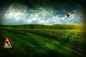 digital art, Hot air balloons, Sign, Space art, Landscape