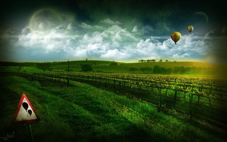 digital art, Hot air balloons, Sign, Space art, Landscape HD Wallpaper Desktop Background