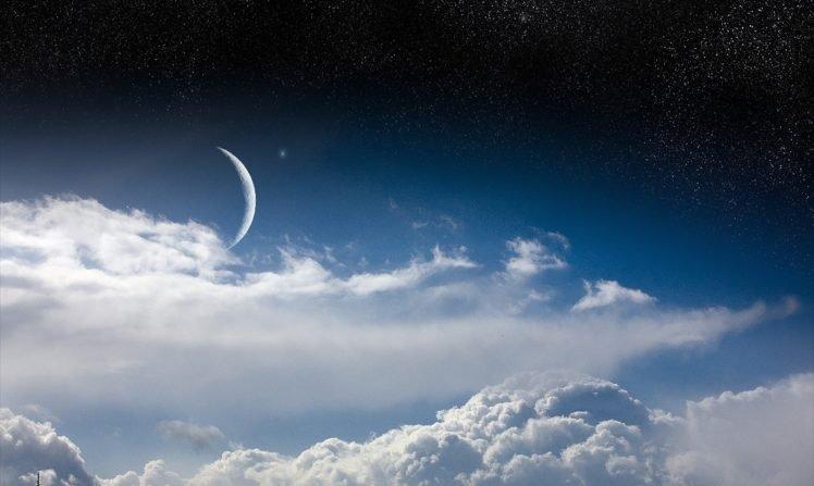 space art, Sky, Stars, Moon, Digital art HD Wallpaper Desktop Background