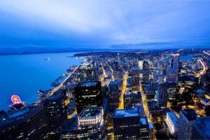 Seattle, Washington state, Cityscape, Night, Building, Dusk, Street, Puget Sound, Space Needle