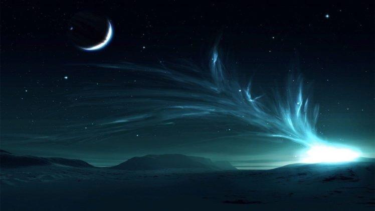 space art, Landscape, Shapes, Digital art, Night, Lights, Artwork HD Wallpaper Desktop Background