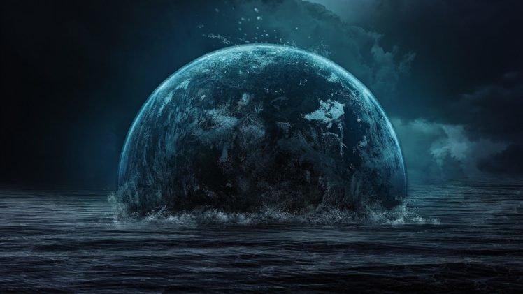 space art, Planet, Space, Sea, Digital art HD Wallpaper Desktop Background