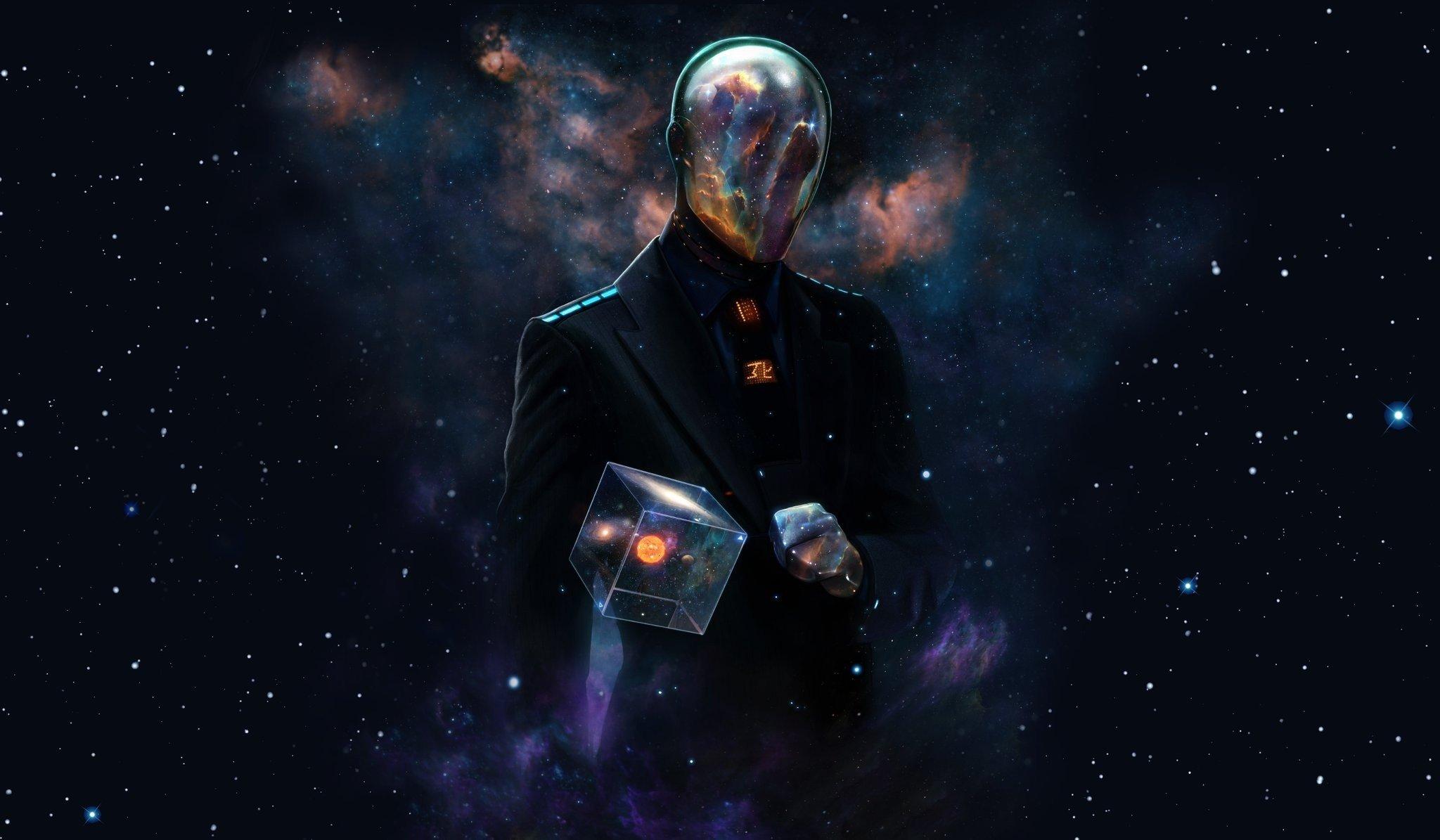 Dan Luvisi Space Universe Suits Helmet Cube Artwork