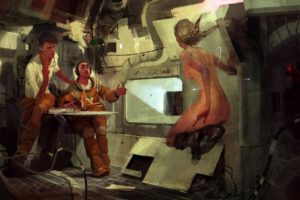 nude, Science fiction, Concept art, Space station