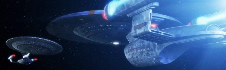 Star Trek, USS Enterprise (spaceship), Dual monitors, Multiple display, Space HD Wallpaper Desktop Background