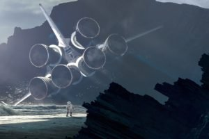 beach, Astronaut, Space shuttle, Kuldar Leement