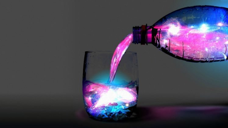 bottles, Drinking glass, Colorful, Space HD Wallpaper Desktop Background