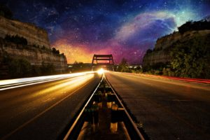 nebula, Space, Lights, Road, Evening, Photo manipulation, Light trails, Long exposure