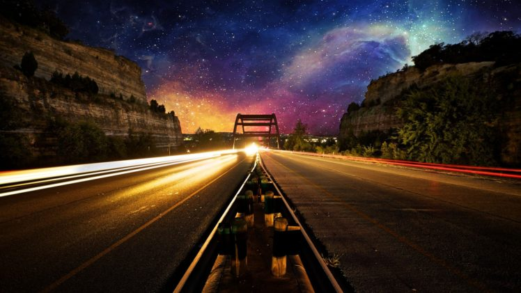 nebula, Space, Lights, Road, Evening, Photo manipulation, Light trails, Long exposure HD Wallpaper Desktop Background
