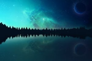 nebula, Space, Planet, Lake, Evening, Photo manipulation
