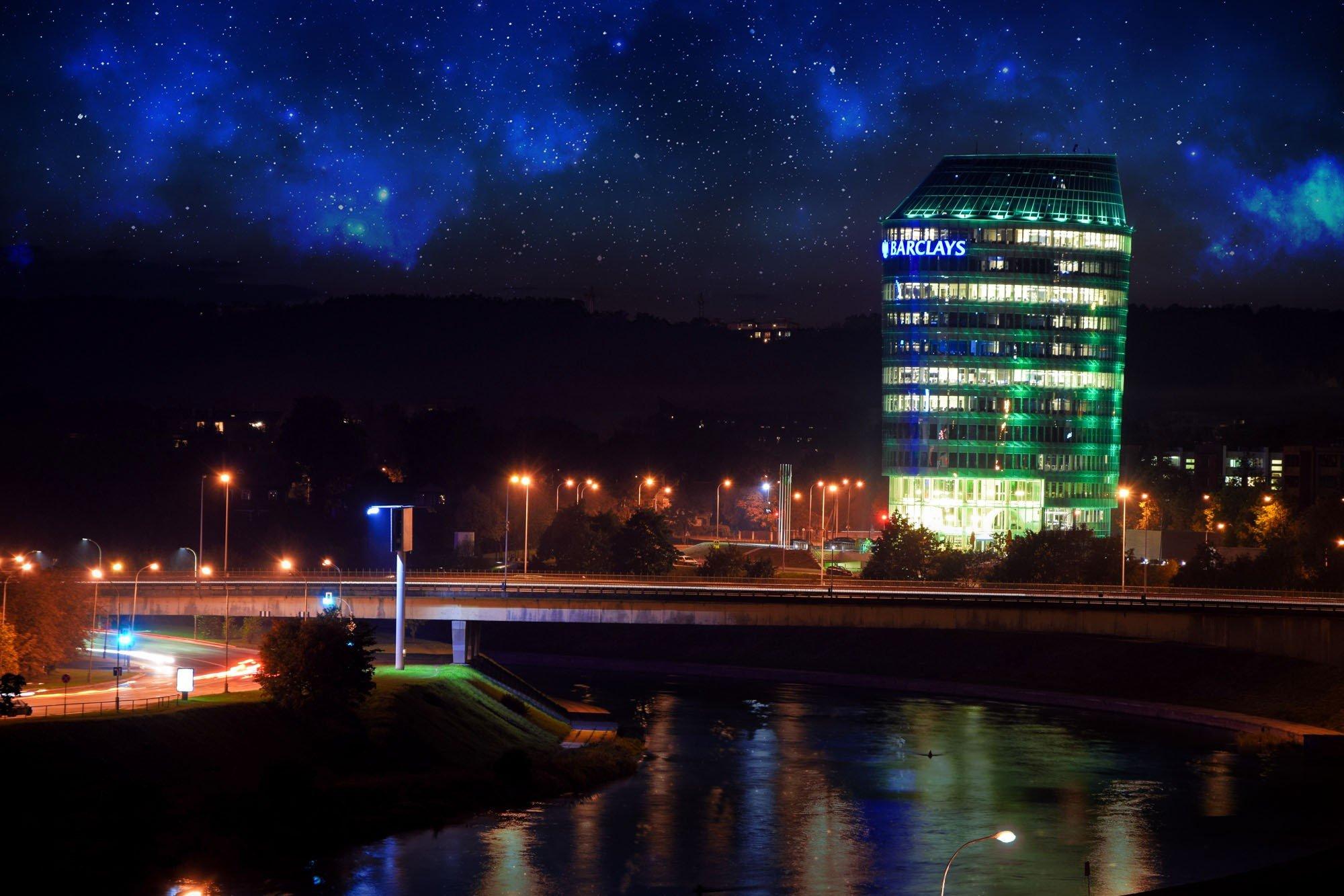 Vilnius, Nebula, Space, City, Evening, Photo manipulation, Long exposure Wallpaper