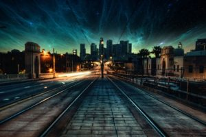 nebula, Space, City, Street light, Evening, Photo manipulation, Stars