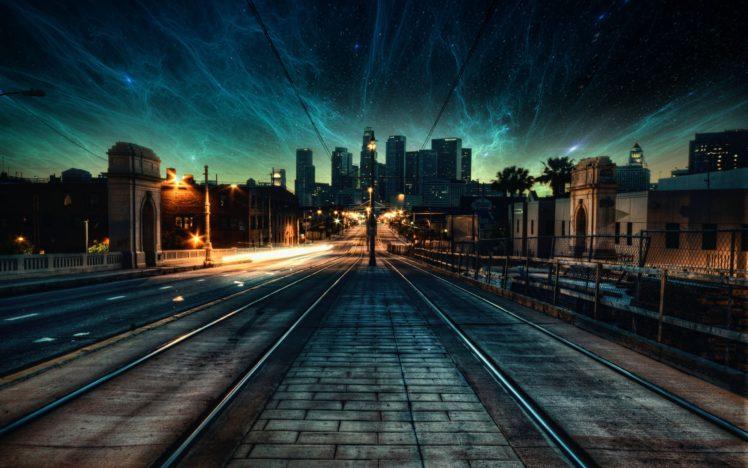 nebula, Space, City, Street light, Evening, Photo manipulation, Stars HD Wallpaper Desktop Background