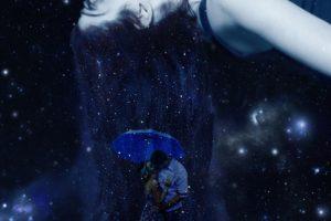 love, Umbrella, Space, Stars, Kissing, Universe, Sleeping