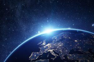 Earth, City lights, Space, Stars, Europe, Sunrise