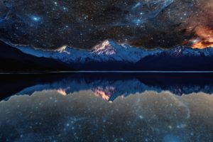nebula, Lake, Space, Stars, Water, Reflection, Evening, Photo manipulation