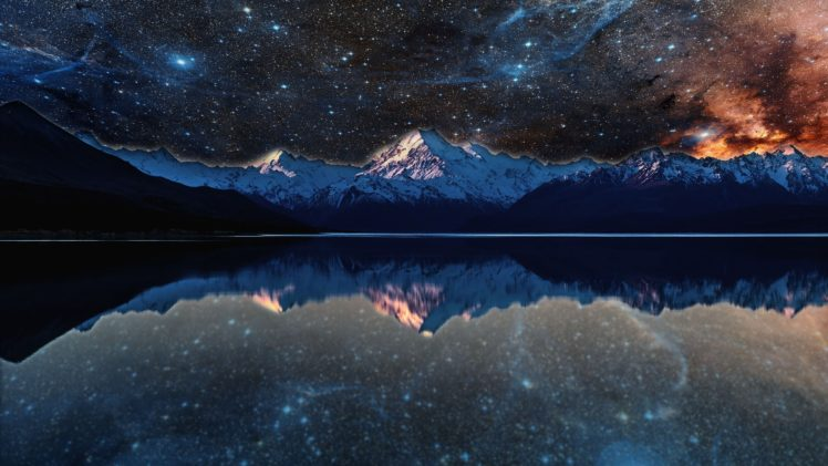 Nebula Lake Space Stars Water Reflection Evening Photo Manipulation