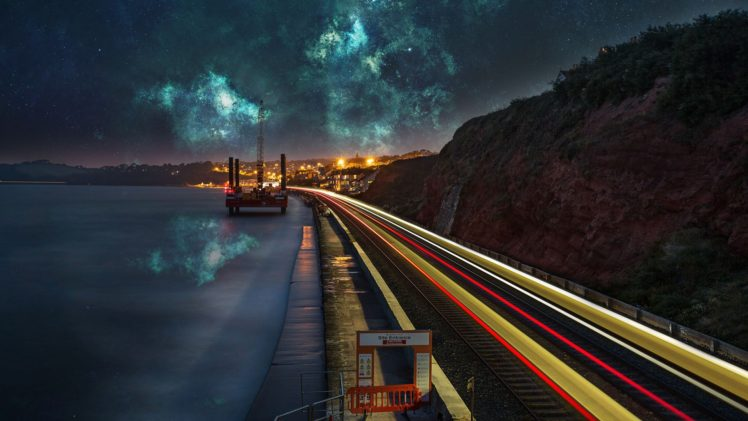 nebula, Lake, Space, Stars, Evening, Water, City, Photo manipulation, Reflection, Long exposure HD Wallpaper Desktop Background