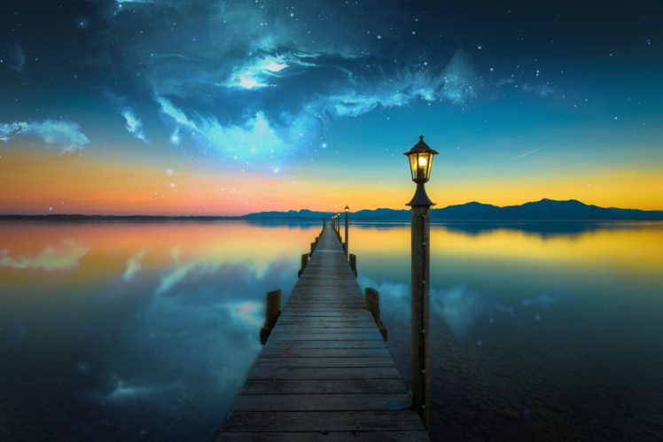Nebula Space Lake Evening Photo Manipulation Bridge Water HD Wallpaper