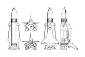 space shuttle, USSR, Rockets, Simple background, Schematic, Buran