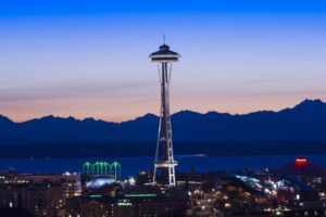 photography, Urban, City, Evening, Dusk, Sea, Water, Mountain, Seattle, Space Needle