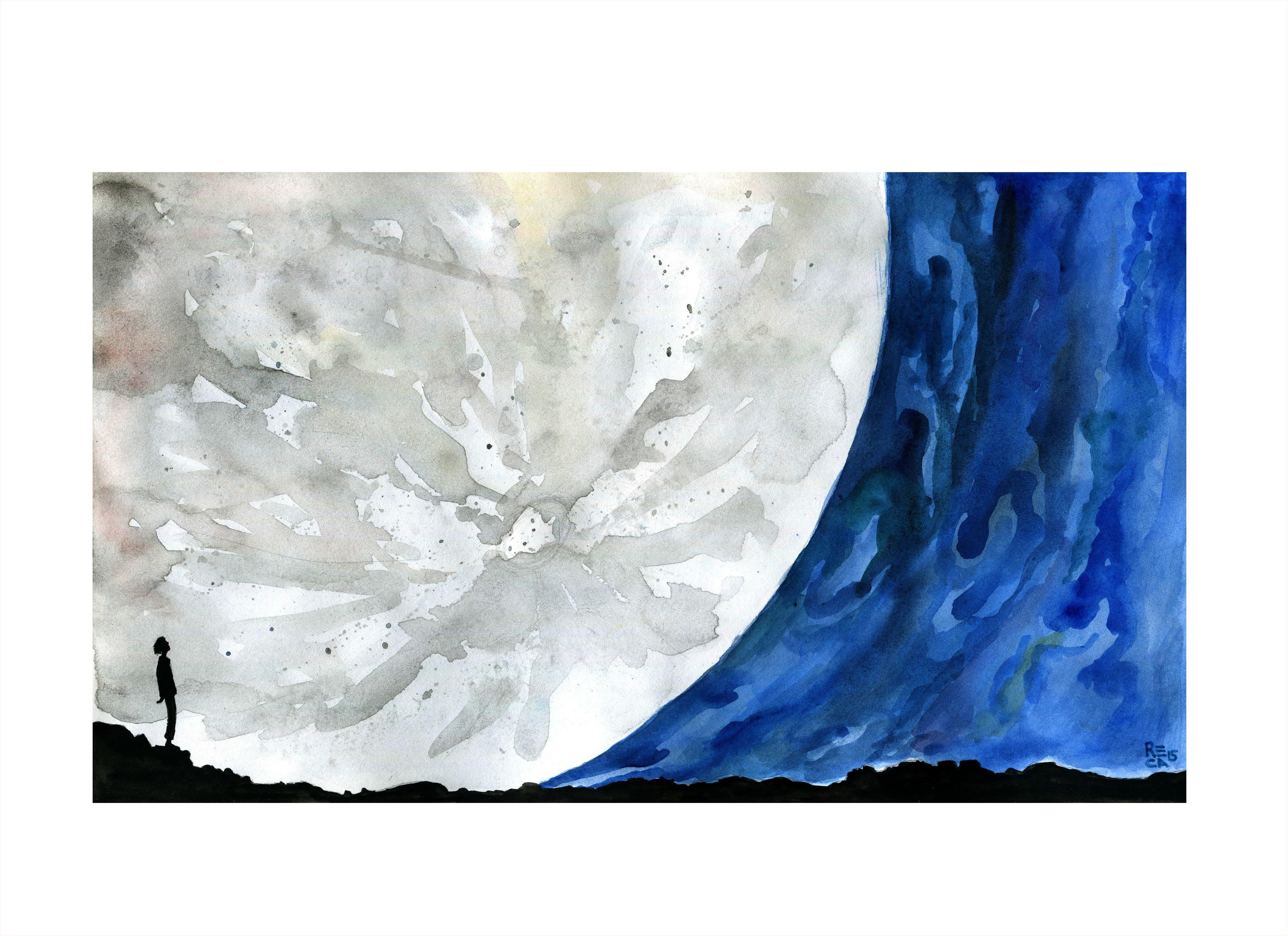 Reca Space Art Watercolor Moon Cosmos A Spacetime Odyssey