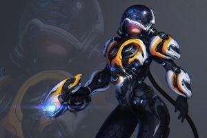 space suit, Simple background, Science fiction, Power suit, Weapon