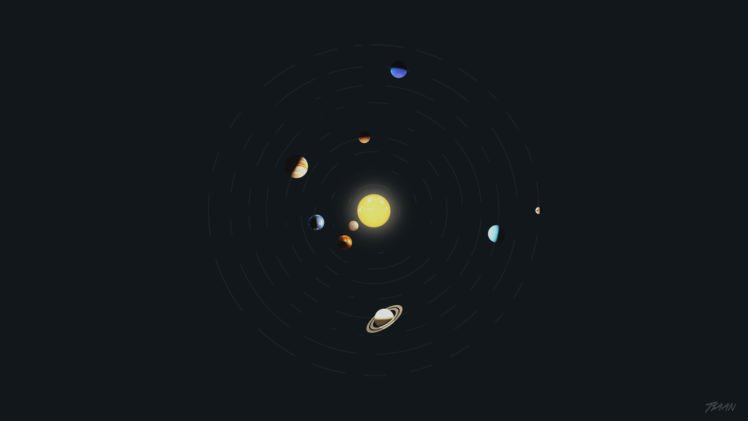 Solar System Minimalism Space Art Planet Photoshop