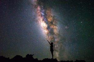 women, Universe, Night, Stars