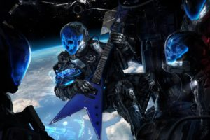 science fiction, Skull, Guitar, Space, Futuristic, Earth, Blue