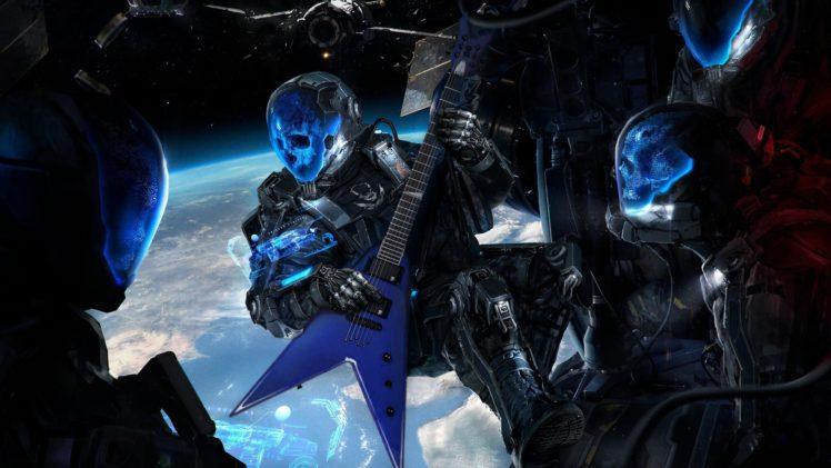 science fiction, Skull, Guitar, Space, Futuristic, Earth, Blue HD Wallpaper Desktop Background