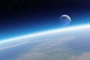space, Moon, Earth, Stars