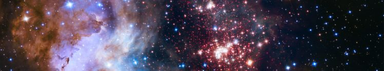 ESA, Space, Galaxy, Suns, Stars, Hubble Deep Field, Westerlund 2, Nebula, Multiple display, Triple screen HD Wallpaper Desktop Background