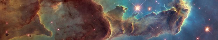 Pillars of Creation, ESA, Space, Nebula, Galaxy, Stars, Suns, Triple screen, Multiple display HD Wallpaper Desktop Background