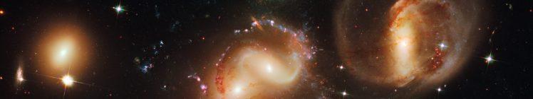 nebula, Space, Galaxy, Suns, Stars, Hubble Deep Field, ESA, Stephans Quintet, Triple screen, Multiple display HD Wallpaper Desktop Background