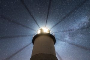 stars, Lighthouse, Space, Night